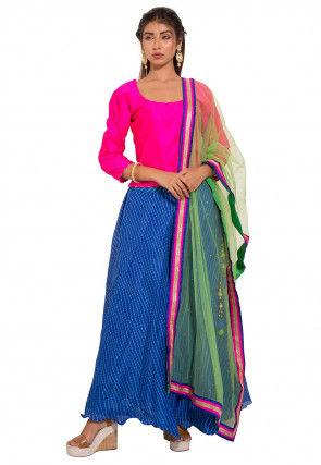 Leheriya Kota Silk Lehenga in Royal Blue