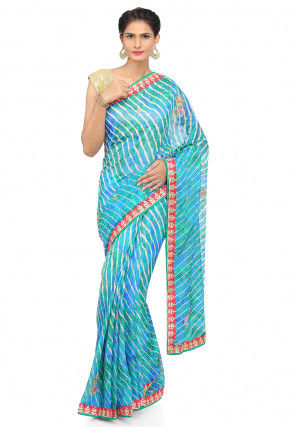 Leheriya Kota Silk Saree in Shaded Blue and Sea Green