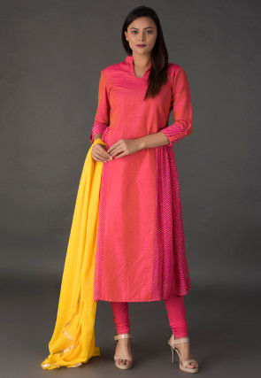 Leheriya Printed Cotton Silk A Line Suit in Coral Pink