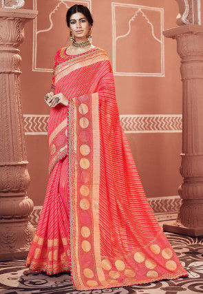 Leheriya Printed Art Silk Saree in Coral Pink