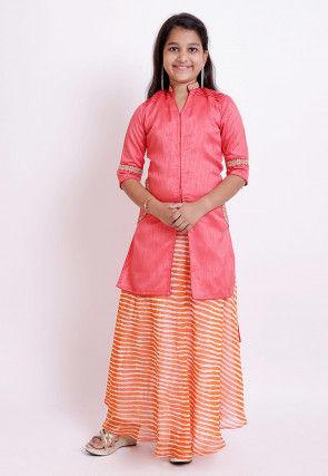 Leheriya Printed Bhagalpuri Silk Lehenga in Dark Peach