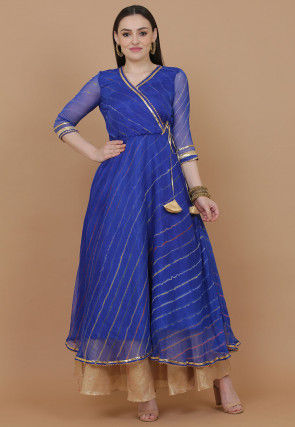 Leheriya Printed Chiffon Kurta in Blue