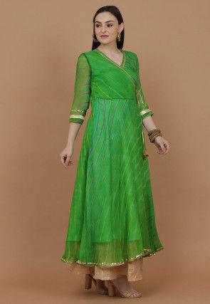 Leheriya Printed Chiffon Kurta in Green