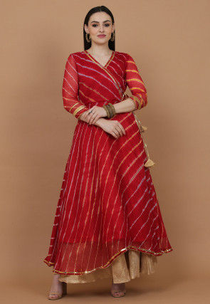 Leheriya Printed Chiffon Kurta in Red