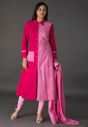 Leheriya Printed Cotton A Line Suit in Fuchsia and Pink