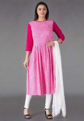Leheriya Printed Cotton Anarkali Suit in Pink