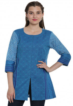 Leheriya Printed Cotton Jacquard Top in Blue