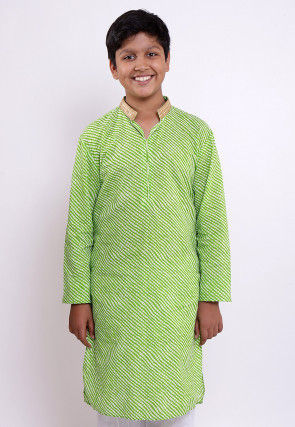 Leheriya Printed Cotton Kurta in Light Green