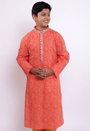 Leheriya Printed Cotton Kurta in Red