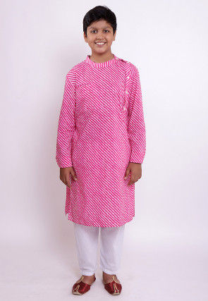 Leheriya Printed Cotton Kurta Set in Pink