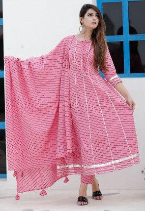 Leheriya Printed Cotton Pakistani Suit in Pink