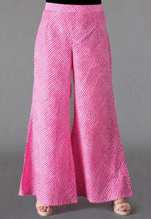Leheriya Printed Cotton Palazzo in Pink
