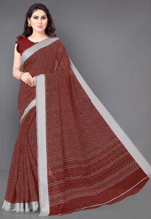 Leheriya Printed Cotton Saree in Red