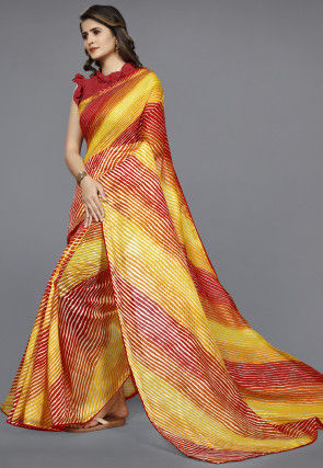 Leheriya Printed Cotton Saree in Yellow and Red