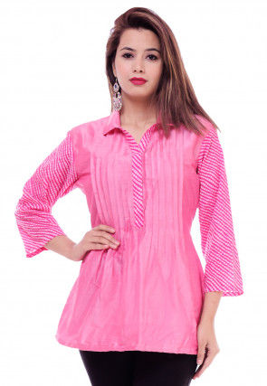 Leheriya Printed Cotton Silk Top in Pink