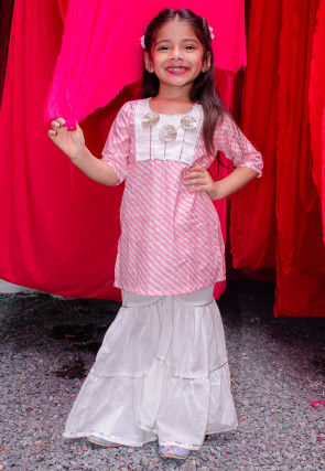 Leheriya Printed Cotton Straight Kurti Set in Pink