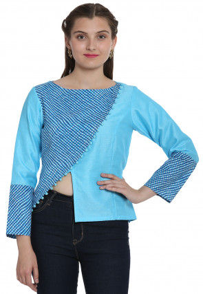 Leheriya Printed Cotton Top in Light Blue
