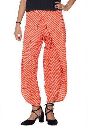 Leheriya Printed Cotton Tulip Pant in Orange