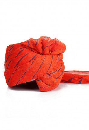 Leheriya Printed Cotton Turban in Orange