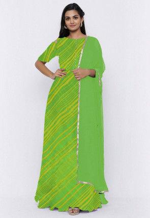 Leheriya Printed Georgette Abaya Style Suit in Green