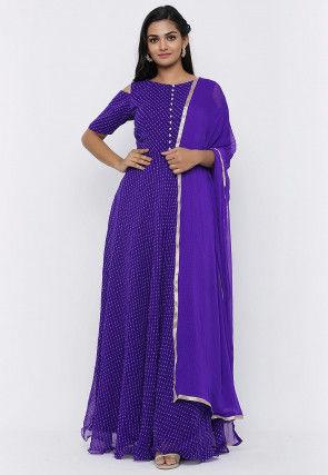 Leheriya Printed Georgette Abaya Style Suit in Purple