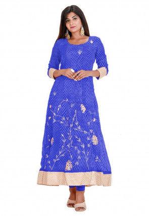 Leheriya Printed Georgette Anarkali Kurta in Blue