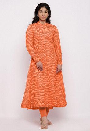 Leheriya Printed Georgette Anarkali Kurta Set in Orange