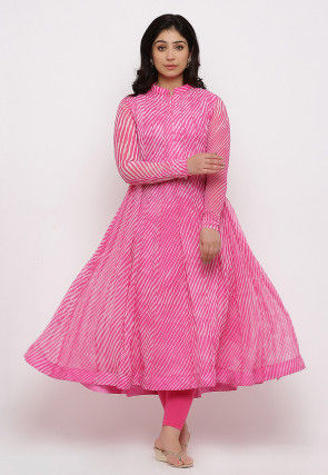Leheriya Printed Georgette Anarkali Kurta Set in Pink