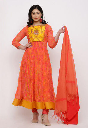 Leheriya Printed Georgette Anarkali Suit in Peach