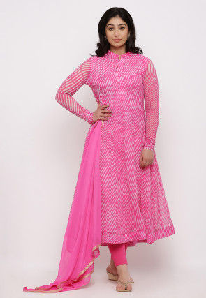 Leheriya Printed Georgette Anarkali Suit in Pink