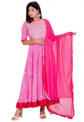 Leheriya Printed Georgette Anarkali Suit in Pink
