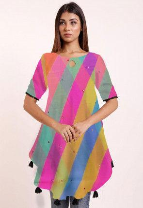 Leheriya Printed Georgette Asymmetric Top in Multicolor