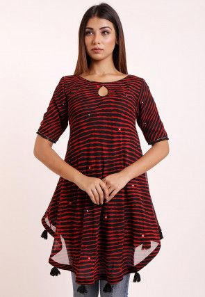 Leheriya Printed Georgette Asymmetric Tunic in Black and Red