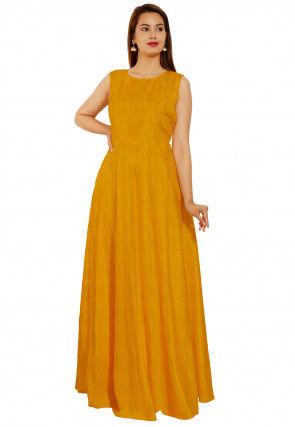 Leheriya Printed Georgette Flared Gown in Mustard