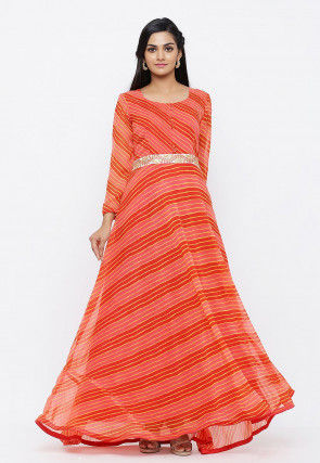 Leheriya Printed Georgette Flared Gown in Peach and Red