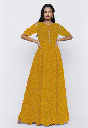 Leheriya Printed Georgette Flared Gown in Yellow