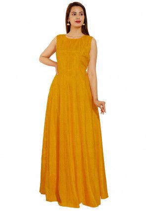 Leheriya Printed Georgette Flared Gown Set in Mustard