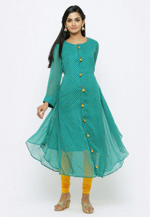 Leheriya Printed Georgette Front Open Kurta in Teal Blue