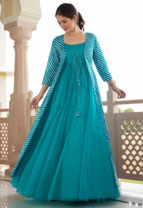 Leheriya Printed Georgette Gown in Turquoise