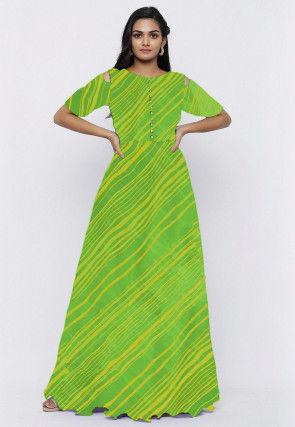 Leheriya Printed Georgette Gown Set in Green