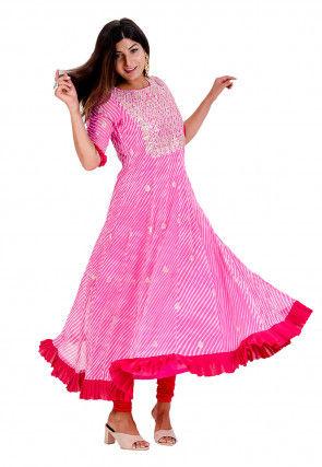 Leheriya Printed Georgette Kurta Set in Pink