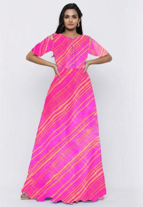 Leheriya Printed Georgette Long Kurta in Neon Pink
