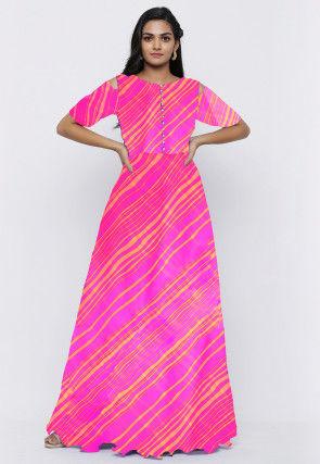 Leheriya Printed Georgette Long Kurta Set in Neon Pink