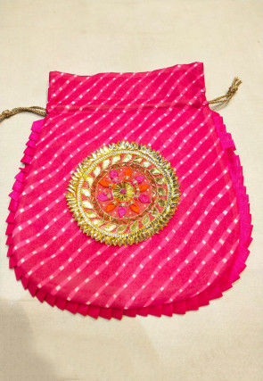 Leheriya Printed Georgette Potli Bag in Fuchsia