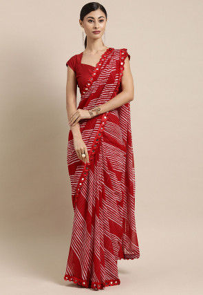Leheriya Printed Georgette Saree in Red