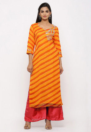 Leheriya Printed Georgette Straight Kurta in Yellow and Orange