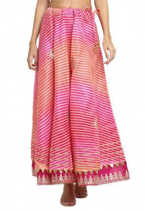 Leheriya Printed Kota Doria Skirt in Pink and Orange