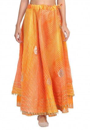 Leheriya Printed Kota Doria Skirt in Yellow and Orange