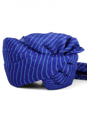 Leheriya Printed Kota Doria Turban in Royal Blue