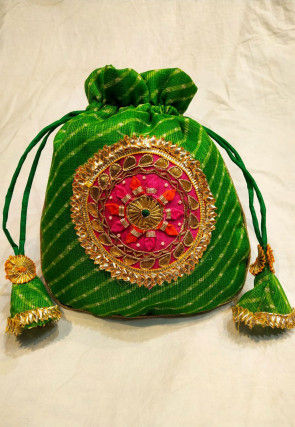 Leheriya Printed Kota Silk Potli Bag in Green